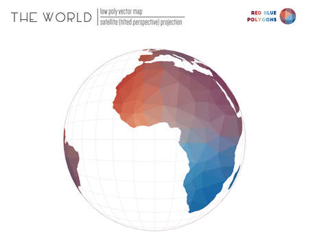 Triangular mesh of the world. Satellite (tilted perspective) projection of the world. Red Blue colored polygons. Awesome vector illustration. Çizim