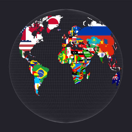 World map with flags. Gilberts two-world perspective projection. Map of the world with meridians on dark background. Vector illustration. Çizim