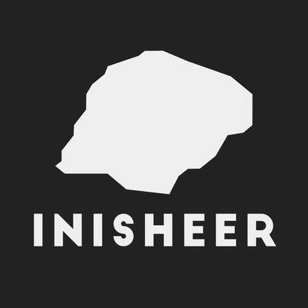 Inisheer icon. Island map on dark background. Stylish Inisheer map with island name. Vector illustration.