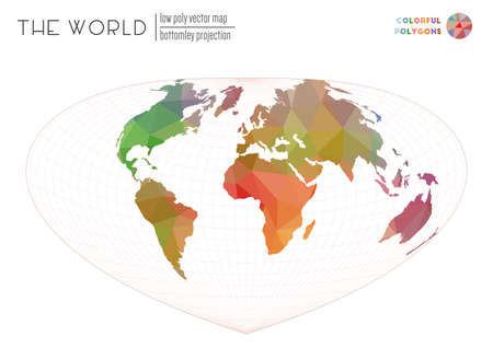 Abstract world map. Bottomley projection of the world. Colorful colored polygons. Contemporary vector illustration.