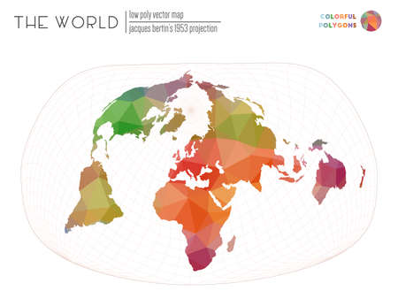 Triangular mesh of the world. Jacques Bertin's 1953 projection of the world. Colorful colored polygons. Beautiful vector illustration. 向量圖像