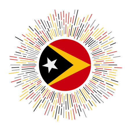 Timor-Leste sign. Country flag with colorful rays. Radiant sunburst with Timor-Leste flag. Vector illustration. Ilustração