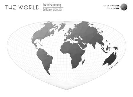 Triangular mesh of the world. Bottomley projection of the world. Grey Shades colored polygons. Trending vector illustration. Çizim