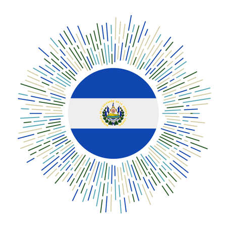 El Salvador sign. Country flag with colorful rays. Radiant sunburst with El Salvador flag. Vector illustration.