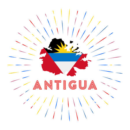 Antigua sunburst badge. The island sign with map of Antigua with Antiguan, Barbudan flag. Ilustrace