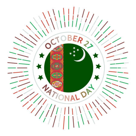 Turkmenistan national day badge. Declaration of independence from the Soviet Union in 1991. Celebrated on October 27. Ilustrace
