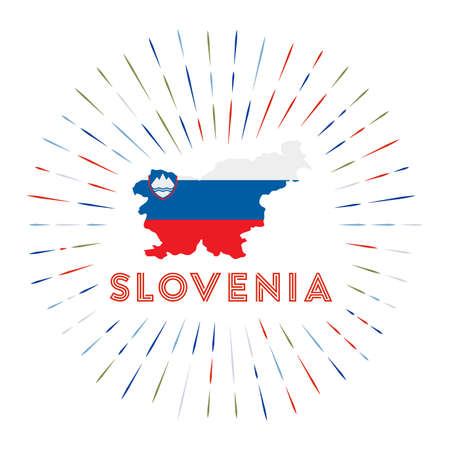 Slovenia sunburst badge. The country sign with map of Slovenia with Slovene flag.