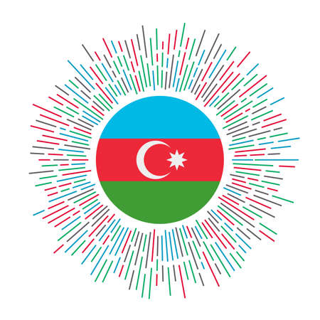 Azerbaijan sign. Country flag with colorful rays. Radiant sunburst with Azerbaijan flag. Vector illustration. Illusztráció