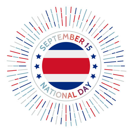 Costa Rica national day badge. Independence from Spain in 1821. Celebrated on September 15. 矢量图像