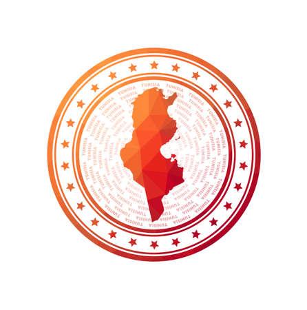Flat low poly stamp of Tunisia. Polygonal Tunisia badge. 向量圖像