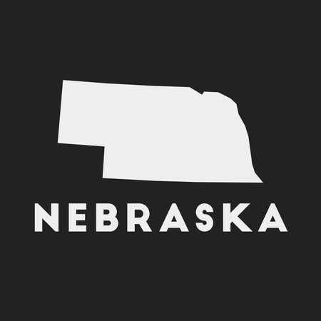 Nebraska icon. Us state map on dark background. Stylish Nebraska map with us state name. Vector illustration.