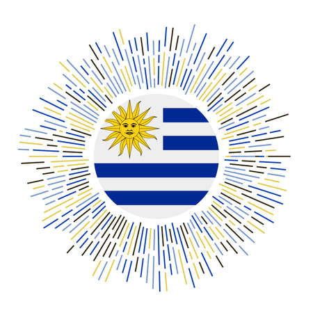 Uruguay sign. Country flag with colorful rays. Radiant sunburst with Uruguay flag. Vector illustration.