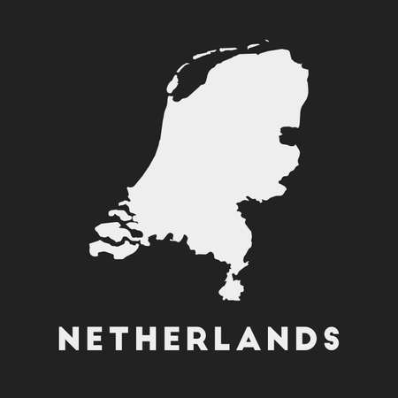 Netherlands icon. Country map on dark background. Stylish Netherlands map with country name. Vector illustration.