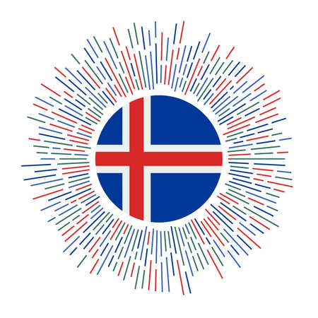 Iceland sign. Country flag with colorful rays. Radiant sunburst with Iceland flag. Vector illustration.