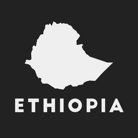 Ethiopia icon. Country map on dark background. Stylish Ethiopia map with country name. Vector illustration.