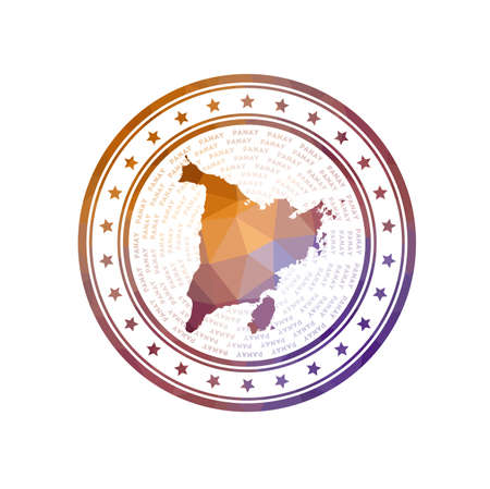 Flat low poly stamp of Panay. Polygonal Panay badge. 向量圖像