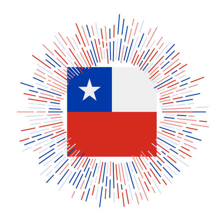 Chile sign. Country flag with colorful rays. Radiant sunburst with Chile flag. Vector illustration. Ilustração