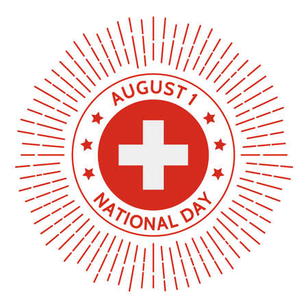 Switzerland national day badge. Alliance against the Holy Roman Empire in 1291. Celebrated on August 1. Ilustrace