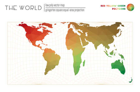 Polygonal map of the world. Gringorten square equal-area projection of the world. Red Yellow Green colored polygons. Elegant vector illustration.