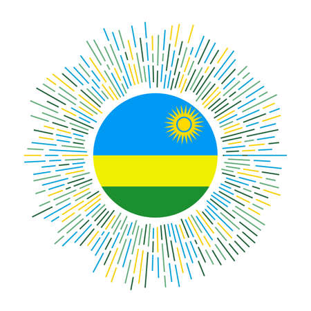 Rwanda sign. Country flag with colorful rays. Radiant sunburst with Rwanda flag. Vector illustration.