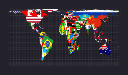 Map of the world with flags. Cylindrical equal-area projection. Map of the world with meridians on dark background. Vector illustration. Çizim