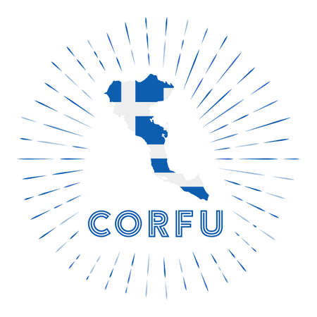 Corfu sunburst badge. The island sign with map of Corfu with Greek flag. Colorful rays . Vector illustration.