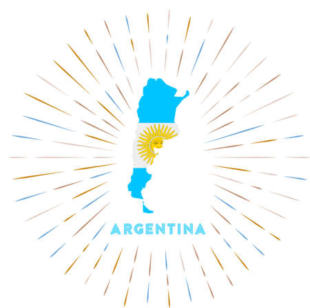 Argentina sunburst badge. The country sign with map of Argentina with Argentinean flag. Çizim