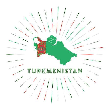 Turkmenistan sunburst badge. The country sign with map of Turkmenistan with Turkmen flag.