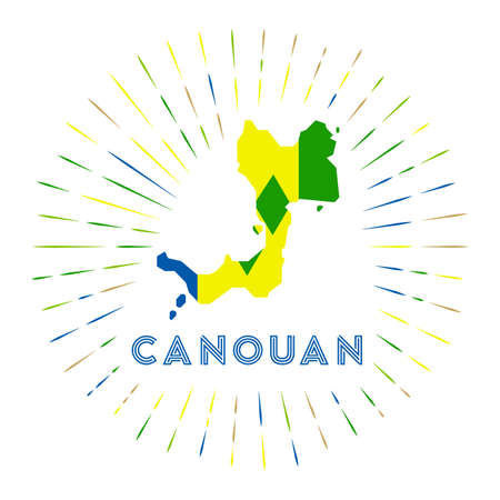 Canouan sunburst badge. The island sign with map of Canouan with Saint Vincentian flag.