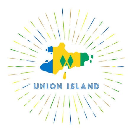 Union Island sunburst badge. The island sign with map of Union Island with Saint Vincentian flag.