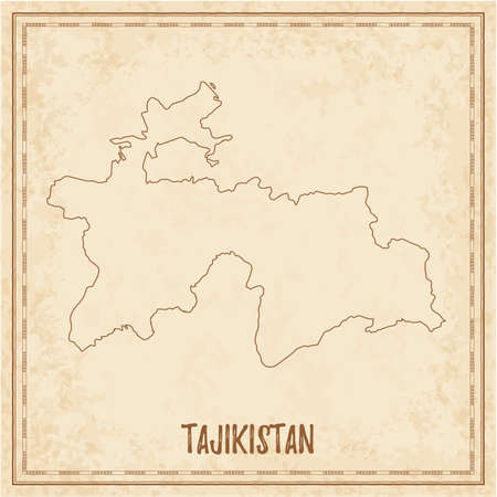Pirate map of Tajikistan. Blank vector map of the Country. Vector illustration. Çizim