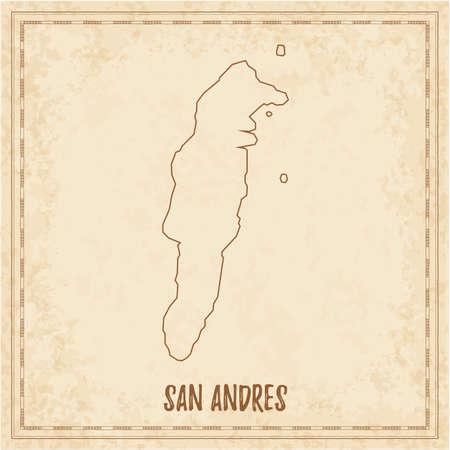 Mappa pirata di San Andres. Mappa vettoriale vuota dell'isola. Illustrazione vettoriale.