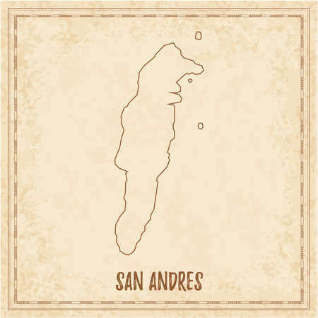 Piratenkaart van San Andres. Lege vectorkaart van het eiland. Vector illustratie.