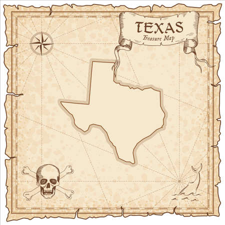 Texas pirate map. Ancient style map template. Old us state borders. Vector illustration.