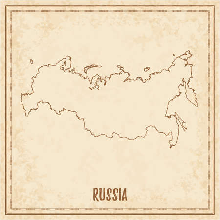 Pirate map of Russia. Blank vector map of the Country. Vector illustration.
