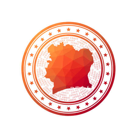 Flat low poly stamp of Ivory Coast. Polygonal Ivory Coast badge. Trendy vector   of the country.