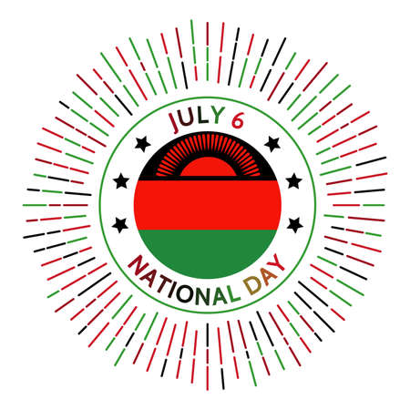 Malawi national day badge. Independence from the United Kingdom in 1964. Celebrated on July 6.
