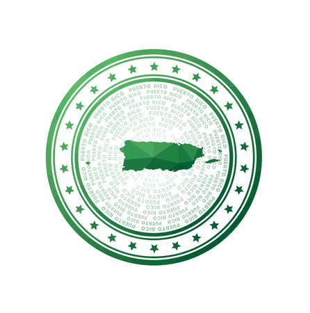 Flat low poly stamp of Puerto Rico. Polygonal Puerto Rico badge. Trendy vector   of the country.