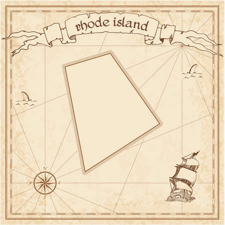 Rhode Island treasure map. Ancient style map template. Old us state borders. Vector illustration.