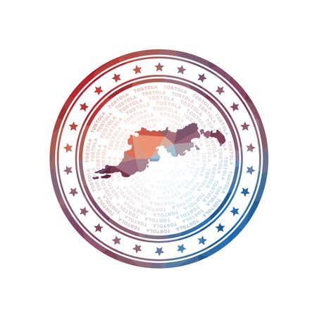 Flat low poly stamp of Tortola. Polygonal Tortola badge. Trendy vector   of the island.