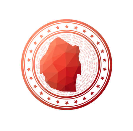 Flat low poly stamp of Swaziland. Polygonal Swaziland badge. Trendy vector   of the country. 일러스트