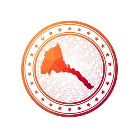 Flat low poly stamp of Eritrea. Polygonal Eritrea badge. Trendy vector   of the country.