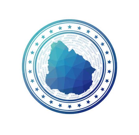 Flat low poly stamp of Uruguay. Polygonal Uruguay badge. Trendy vector   of the country.