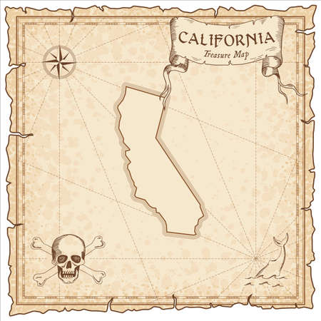 California pirate map. Ancient style map template. Old us state borders. Vector illustration. Illusztráció