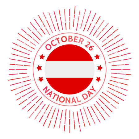 Austria national day badge. Restoration of sovereignty and signing of the Declaration of Neutrality in 1955. Celebrated on October 26. 일러스트
