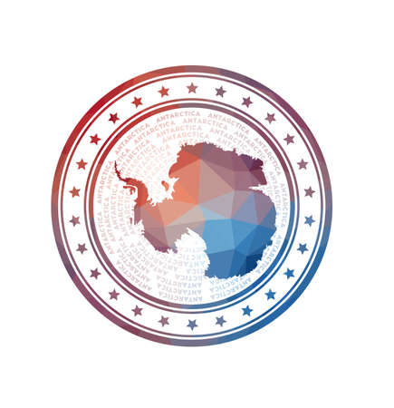 Flat low poly stamp of Antarctica. Polygonal Antarctica badge. Trendy vector   of the country.