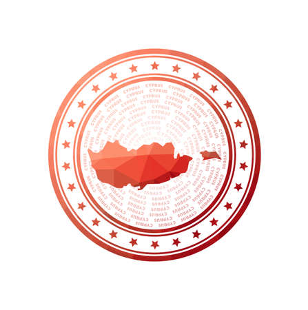 Flat low poly stamp of Cyprus. Polygonal Cyprus badge. Trendy vector of the country.