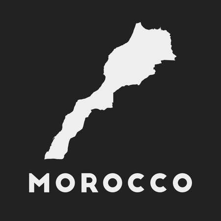 Morocco icon. Country map on dark background. Stylish Morocco map with country name. Vector illustration.