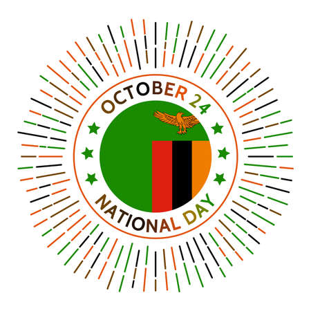 Zambia national day badge. Independence from the United Kingdom in 1964. Celebrated on October 24.