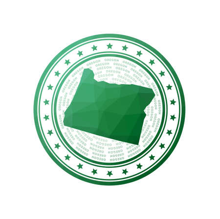 Flat low poly stamp of Oregon. Polygonal Oregon badge. Trendy vector   of the us state. 일러스트